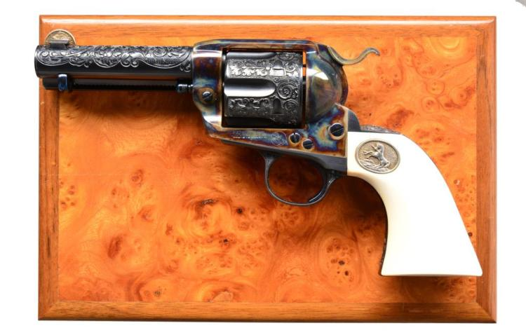 UNITED STATES FIREARMS ENGRAVED SAA REVOLVER.