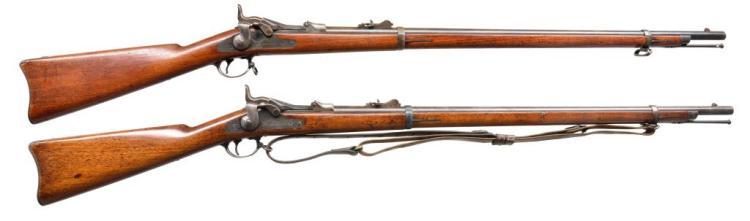 2 SPRINGFIELD 1879 TRAPDOOR RIFLES.
