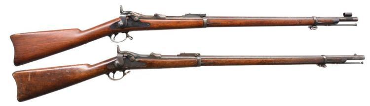 2 SPRINGFIELD 1884 TRAPDOOR RIFLES.