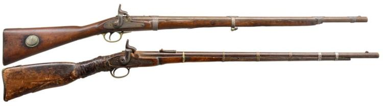 2 BRITISH PERCUSSION FOWLER SHOTGUNS.