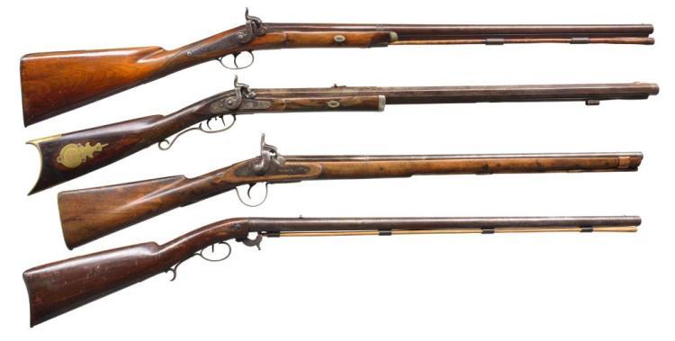 4 ANTIQUE PERCUSSION LONG GUNS.