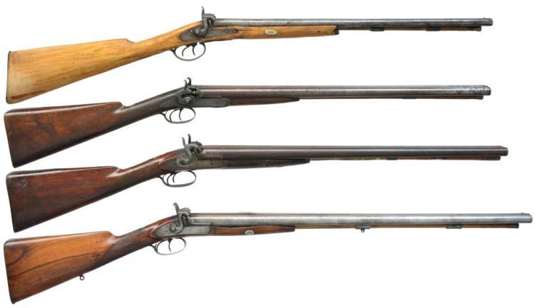 4 ANTIQUE PERCUSSION SXS SHOTGUNS.
