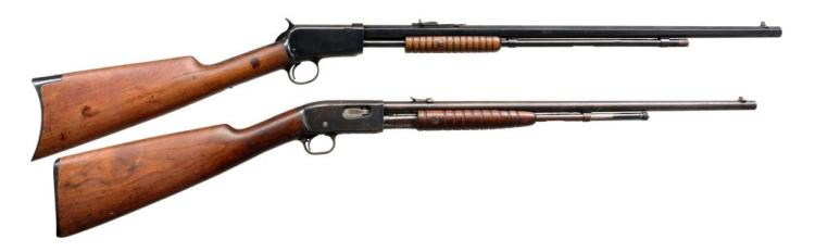 2 AMERICAN PUMP RIFLES BY WINCHESTER & REMINGTON.