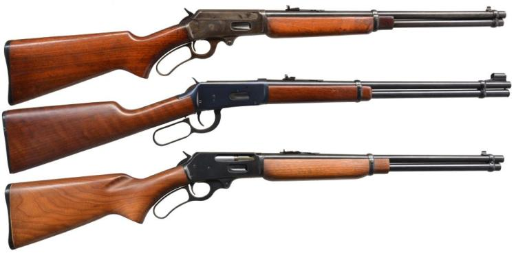 3 LEVER ACTION CARBINES: 2 MARLIN & WINCHESTER.