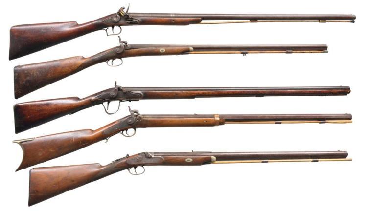 5 ANTIQUE LONG GUNS.