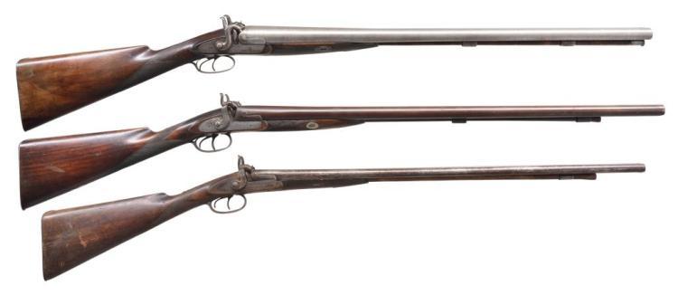 3 ANTIQUE PERCUSSION SXS SHOTGUNS.