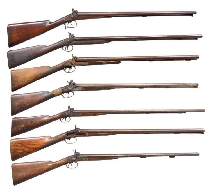 7 ANTIQUE DOUBLE BARREL SHOTGUNS.