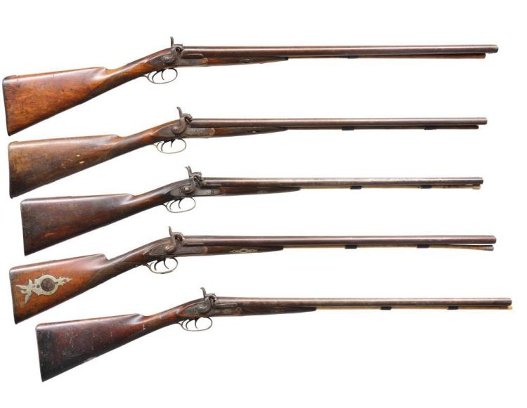 5 ANTIQUE PERCUSSION DOUBLE BARREL SHOTGUNS.