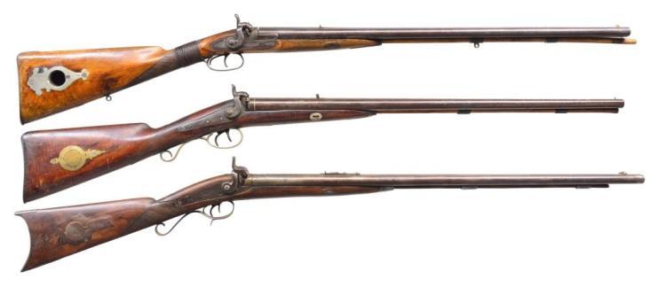 3 ANTIQUE PERCUSSION COMBINATION GUNS.