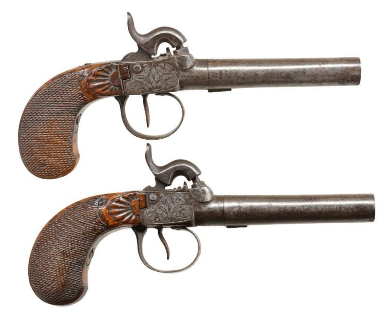 PAIR OF BELGIUM BOXLOCK PERCUSSION PISTOLS.