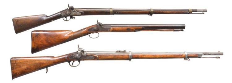 3 ANTIQUE PERCUSSION LONG GUNS.