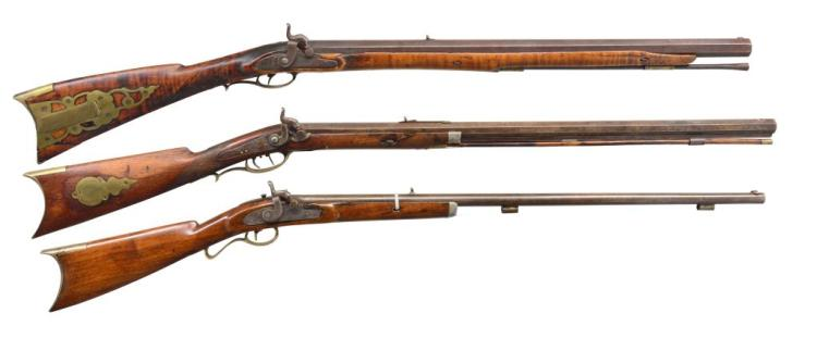 3 ANTIQUE PERCUSSION RIFLES.