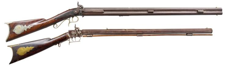 2 ANTIQUE PERCUSSION RIFLES.