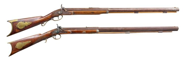 2 ANTIQUE HALF STOCK RIFLES.