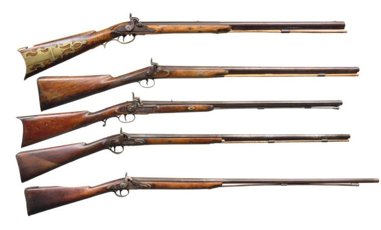 5 ANTIQUE PERCUSSION LONG GUNS.