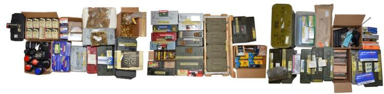 COLLECTION OF AMMO, RELOADING SUPPLIES, GUN PARTS