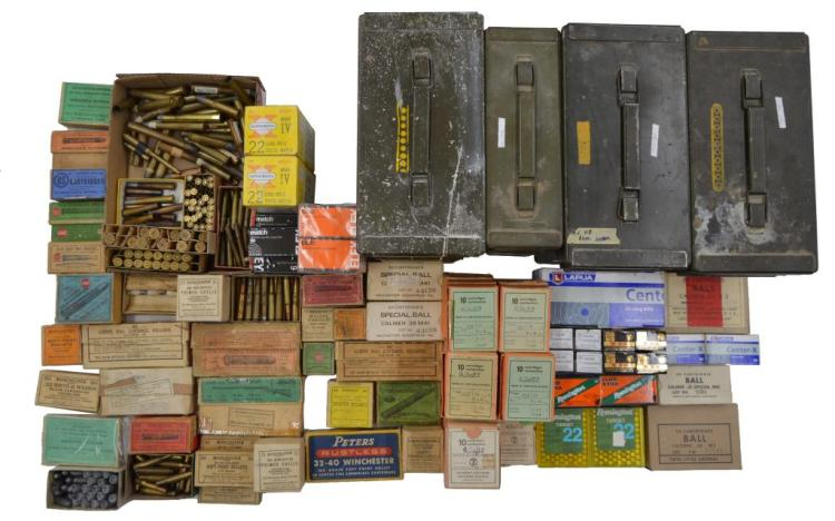 LOT OF COLLECTIBLE & SPORTING RIFLE & PISTOL AMMO.