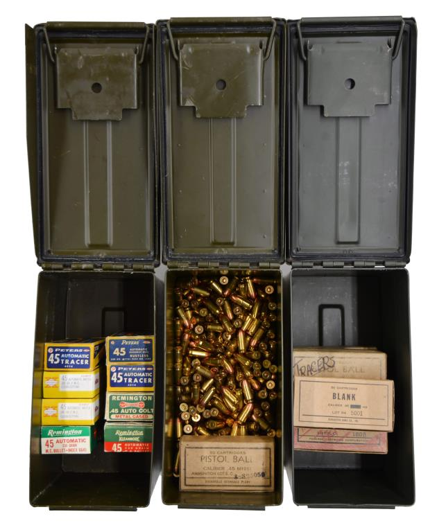LOT OF 15 BOXES & LOOSE 45 ACP AMMO.