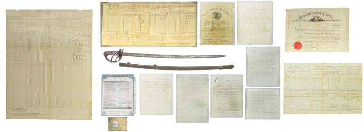 BRITISH ARTILLERY SWORD & CIVIL WAR PAPER.