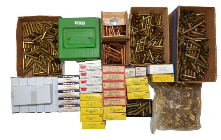 LARGE LOT OF RELOADER'S BRASS CARTRIDGE CASES.