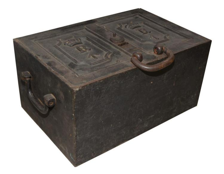 BRITISH CAST IRON STRONG BOX.