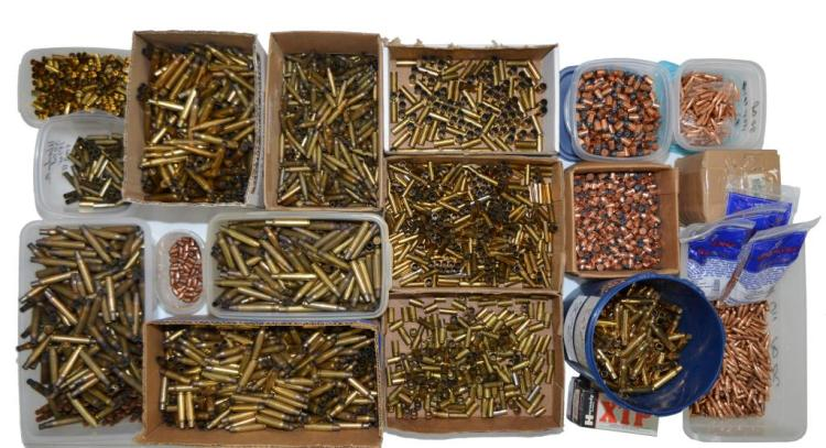 LARGE LOT OF BRASS & BULLETS.