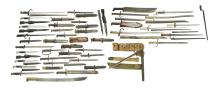 LARGE GROUP OF BAYONETS & FIGHTING KNIVES.