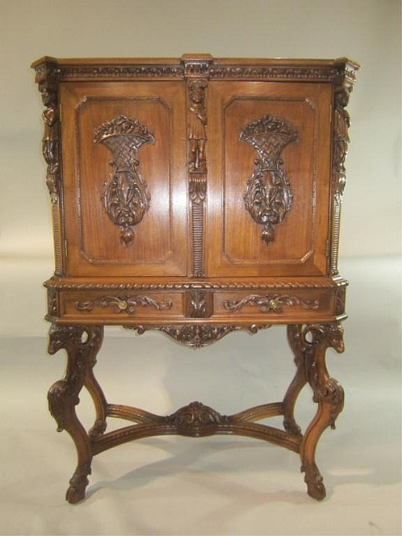 H18-54  CARVED RECORD CABINET