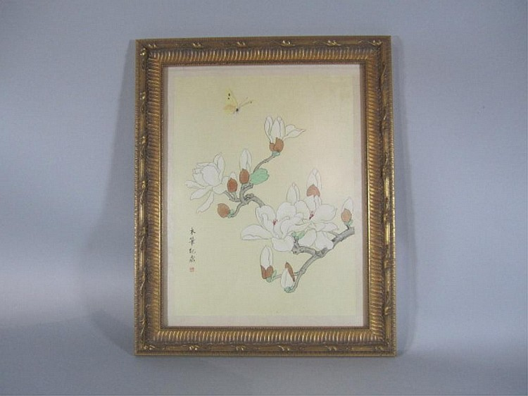 H18-4  CHINESE FLOWER PAINTING WITH BUTTERFLIES