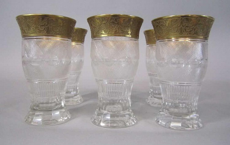 H80-198  SET OF 6 MOSER SPLENDID GOLD TUMBLERS