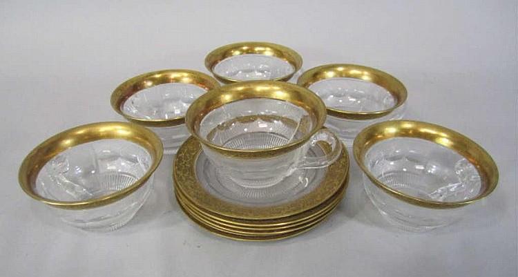 H80-199 SET OF 6 MOSER SPLENDID GOLD SHERBERTS
