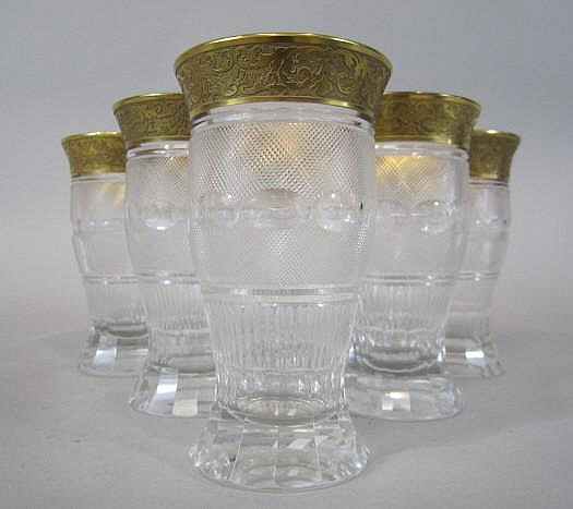H80-197 SET OF 6 MOSER SPLENDID GOLD TUMBLERS