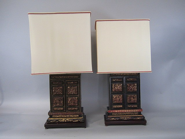 H25-18 PAIR OF SMALL ALTER CABINET LAMPS