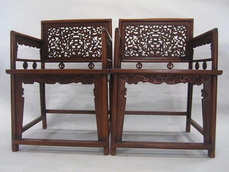 A66-12 PAIR OF HUANGHUALI ARM CHAIRS