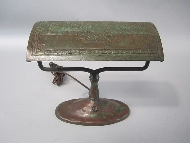 A45-9  TIFFANY STUDIOS BRONZE ZODIAK DESK LAMP