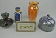 5PC CARNIVAL GLASS, ART GLASS & PERSIAN MINIATURE