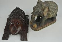 19TH CENTURY ELEPHANT AND MID CENTURY MASK