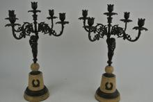 PAIR OF BRONZE CANDELABRAS