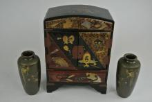 PAIR JAPANESE  VASES AND LAQUERED CABINET