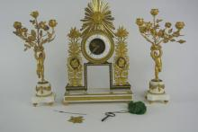 BH2  19th CENTURY ORMOLU & MARBLE 3PC. CLOCK SET