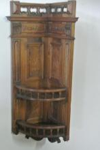 19TH CENTURY WALNUT HANGING CURIO CORNER SHELF