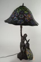 1 - TIFFANY STYLE PEACOCK LAMP