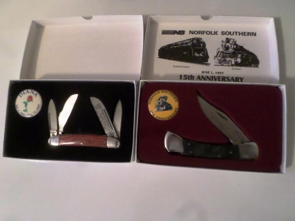 Knives- Vintage Princess Diana English Rose Boxed W/Button, Norfolk Southern Knife W/Button