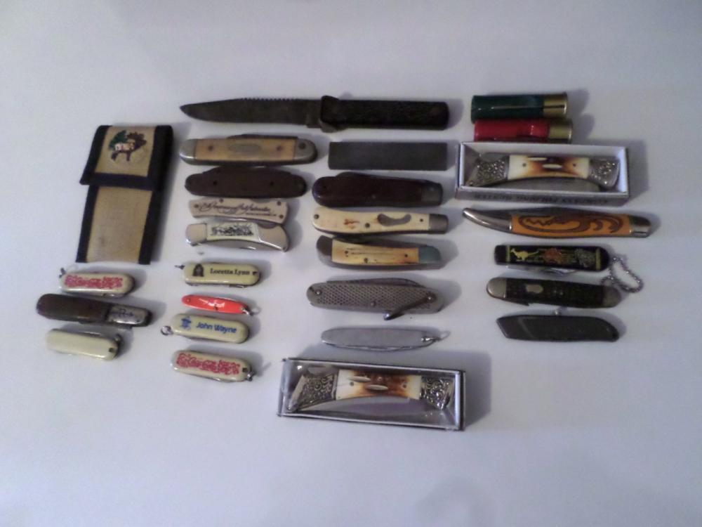 Knives- Assorted Pocket Knives Qty 25 , 1- Sharpener, 1- Case