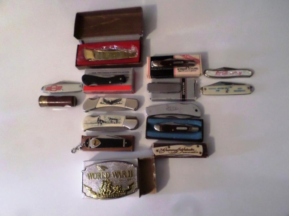 Knives- Assorted Pocket Knives Qty 14 , 1- WWll Buckle