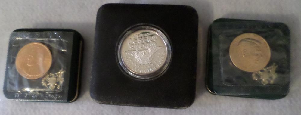 Coins Lot - Qty 3 - 1-1991 Desert Storm One Troy Ounce, 1- George Bush, 1-Ronald Reagan , All W/ Cases