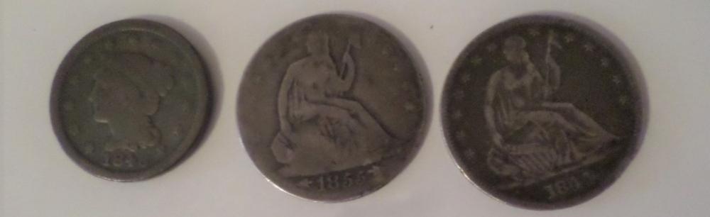 Coins Lot - 1844 Half Dollar, 1946 One Dollar, 1855 Half Dollar