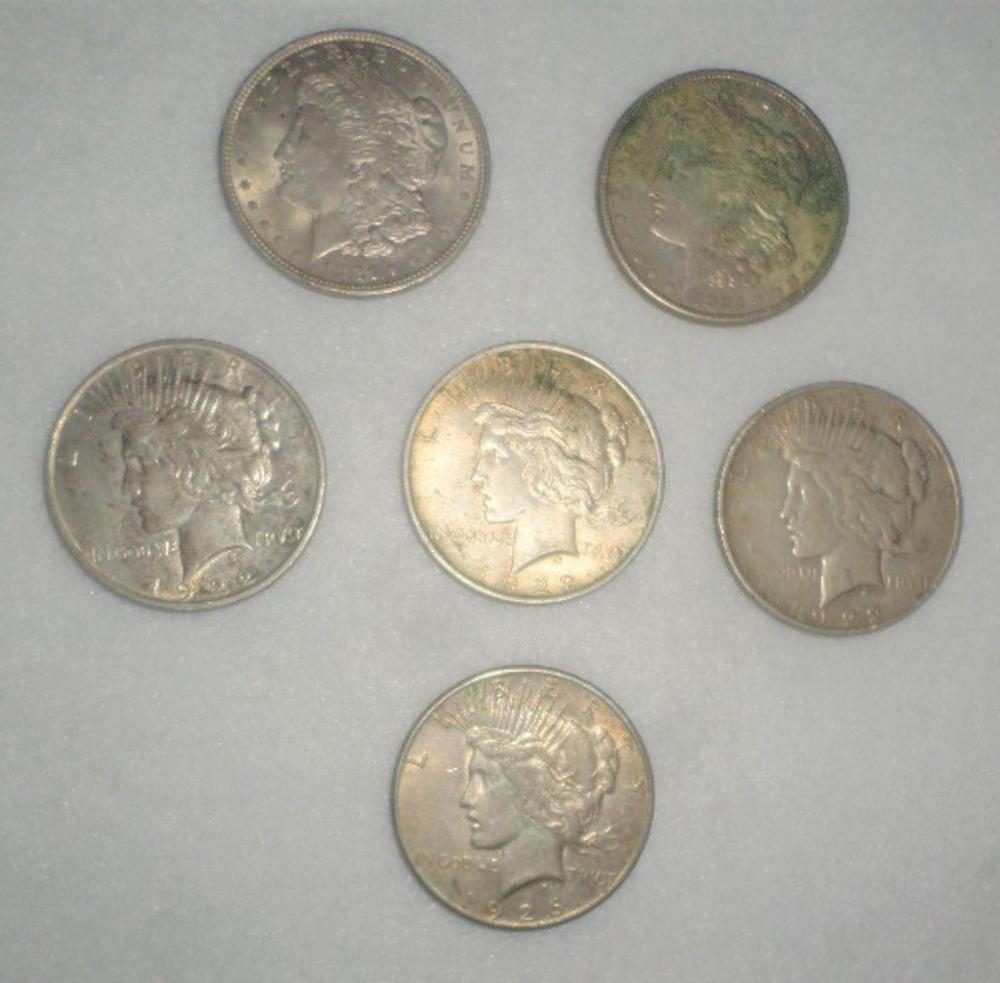 Coins Lot - Qty 6 - Silver Dollars 2-1921, 3- 1922, 1-1926