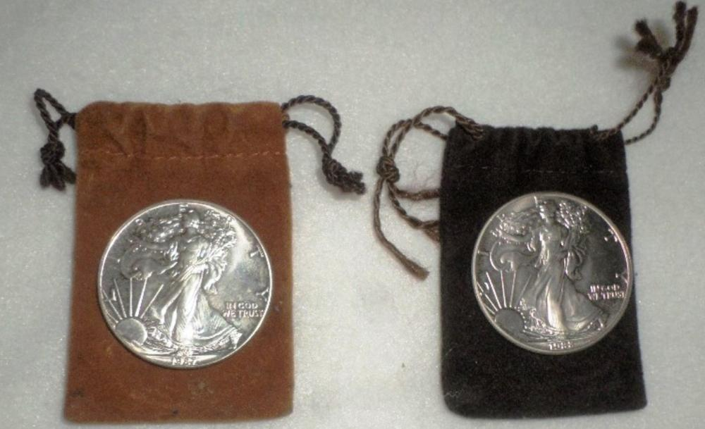 Coins Lot - Qty 2 - Silver Dollars 1987 , 1988 W/ Pouches
