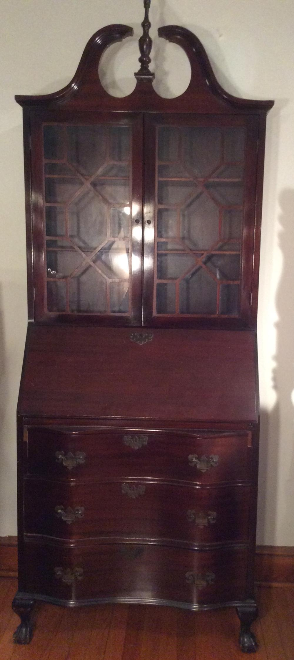 Mahogany Chippendale Style Secretary /w drop front